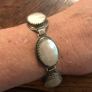 Whiting & Davis MOP silver tone bracelet